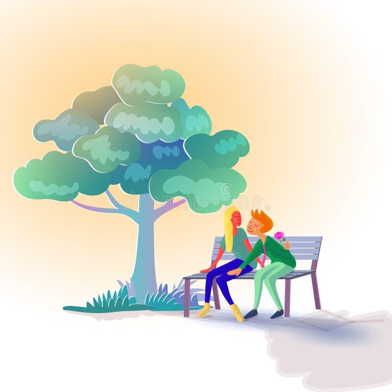 恋人坐长凳在树下,当人掩藏的獐鹿开花在他的惊奇的后面他的女朋友时 库存例证