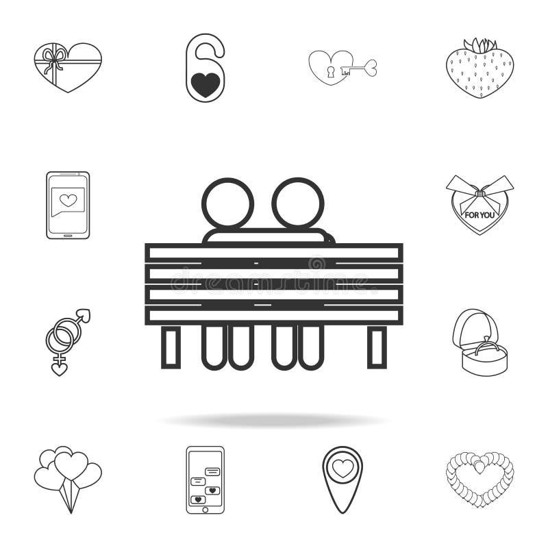 恋人坐长凳象 套爱元素象 优质质量图形设计 标志,概述标志汇集象为 向量例证