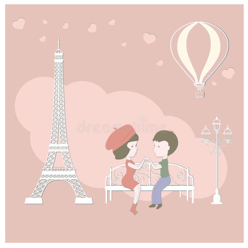 恋人巴黎 向量例证