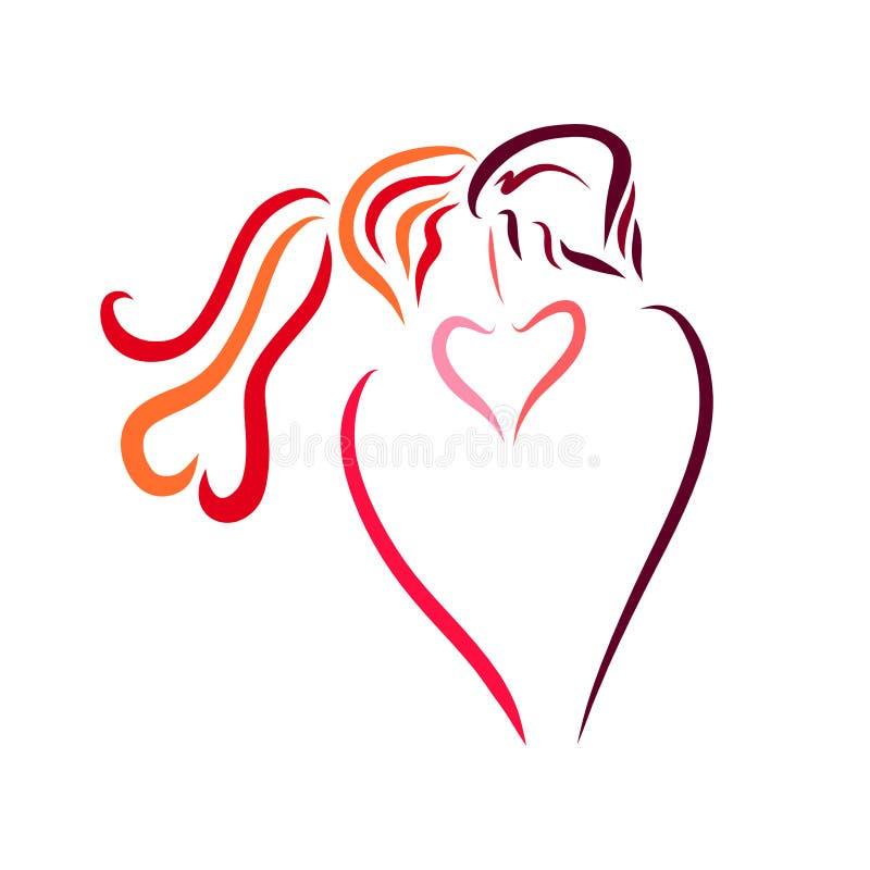 恋人热情的亲吻,创造性的商标 库存例证
