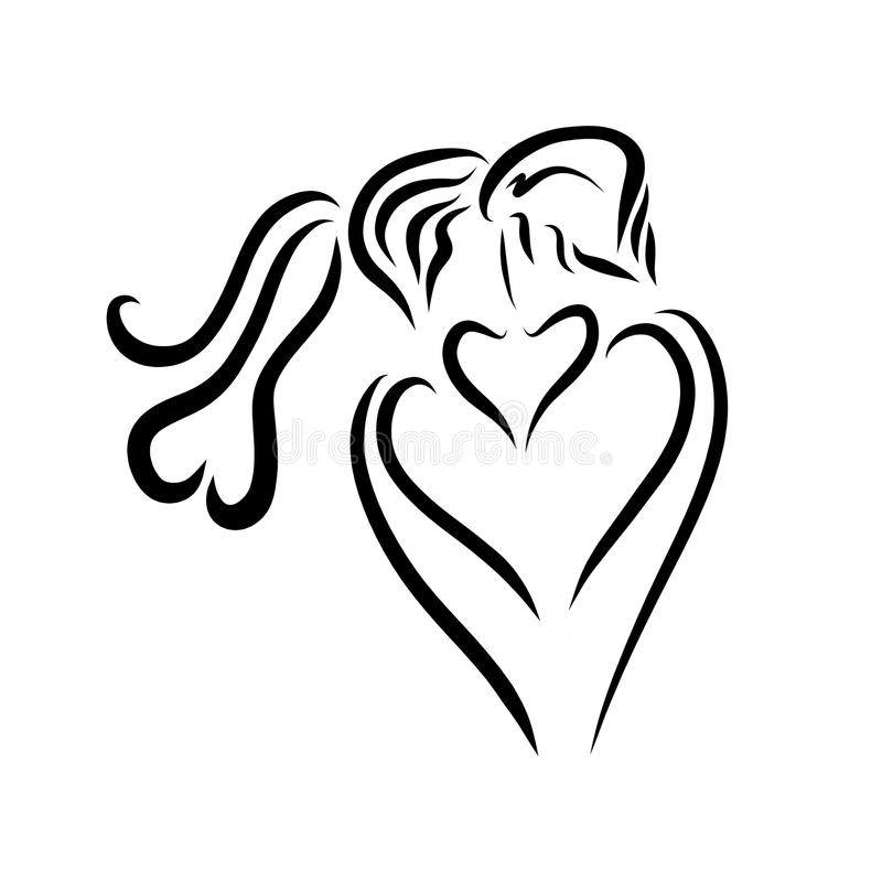恋人热情的亲吻,商标 向量例证