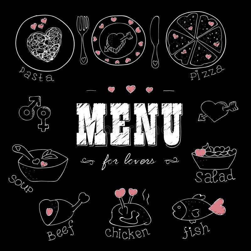 恋人的菜单 与心脏的食物 浪漫的爱 皇族释放例证