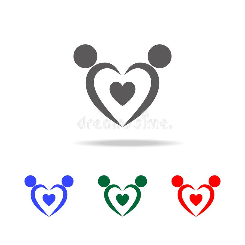 恋人象商标  华伦泰\ 's天的元素在多色的象 优质质量图形设计象 网的简单的象 向量例证
