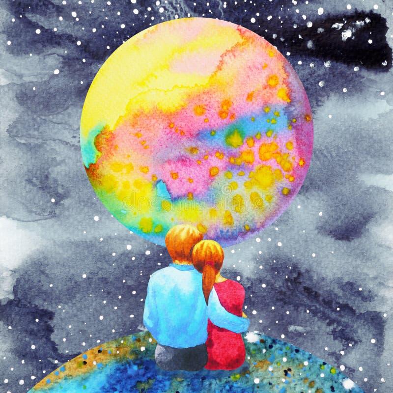 恋人结合在宇宙水彩绘画手图画的甜点 皇族释放例证