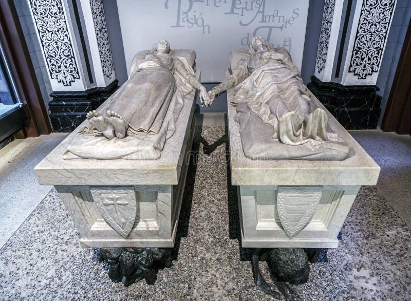 恋人de特鲁埃尔省,西班牙的陵墓 免版税库存图片
