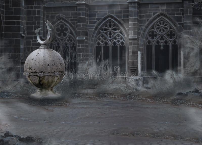 恐怖。 与拱道的中世纪神秘的鬼的城堡黄昏的。 在薄雾的荒芜 免版税库存图片