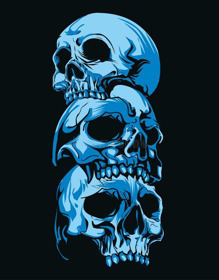 恐怖三顶头头骨在深蓝背景中 库存例证