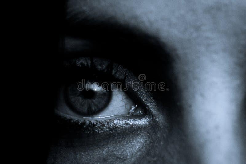 恐怖场面:母眼睛学生 免版税库存照片