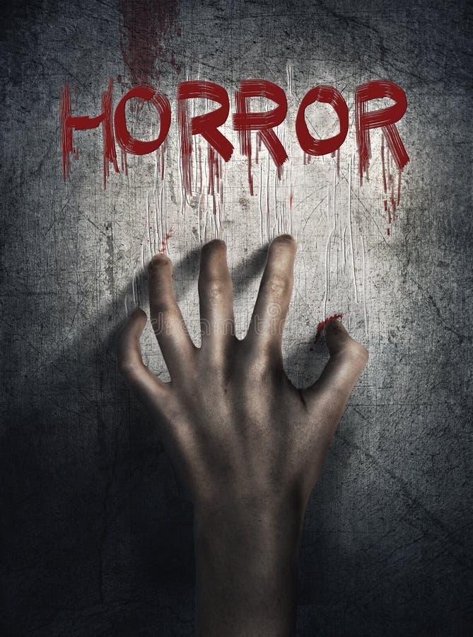 恐怖场面 在墙壁backround的手 海报,盖子概念 库存图片