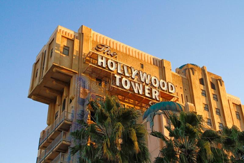 恐怖好莱坞塔旅馆曙暮光区塔我 库存图片