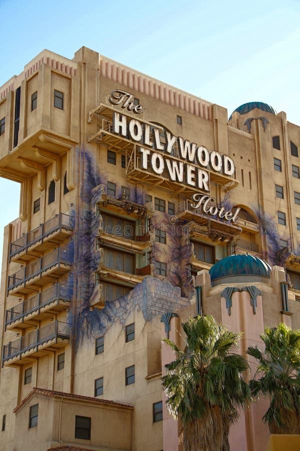 恐怖好莱坞塔旅馆曙暮光区塔  免版税库存照片