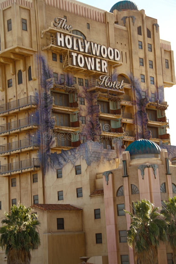 恐怖好莱坞塔旅馆曙暮光区塔  免版税库存图片
