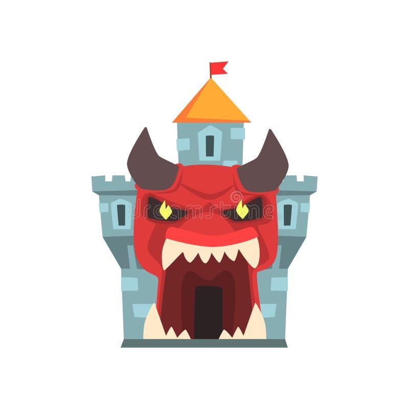 恐怖或恐怖堡垒塔  对城堡的入口以巨型红色妖怪面孔的形式与垫铁和大牙的 向量例证
