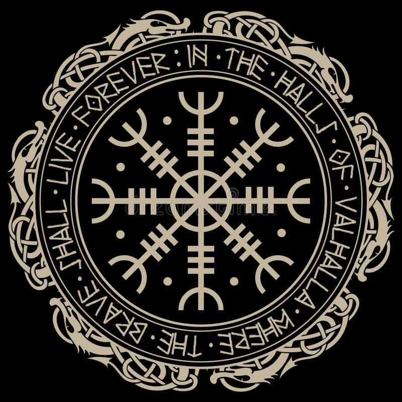 恐怖敬畏舵Aegishjalmur、舵,与斯堪的纳维亚诗歌的冰岛不可思议的梯级和龙 皇族释放例证