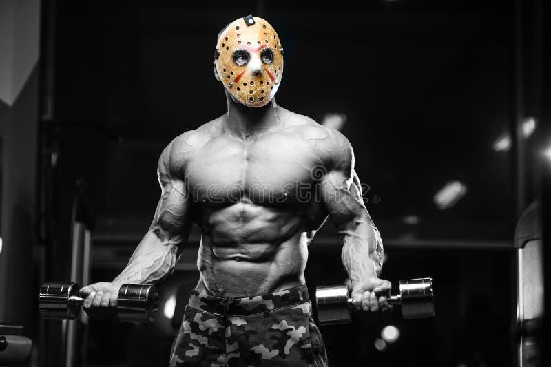 恐怖残酷贾森面具人坚强的爱好健美者运动健身 免版税图库摄影