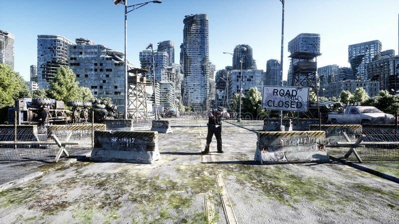 恐怖蛇神人群走 被毁坏的城市 默示录视图,概念 3d翻译 皇族释放例证
