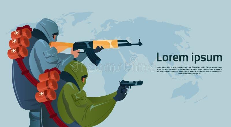 恐怖主义武装恐怖分子黑色面具举行武器机枪计划世界攻击 皇族释放例证