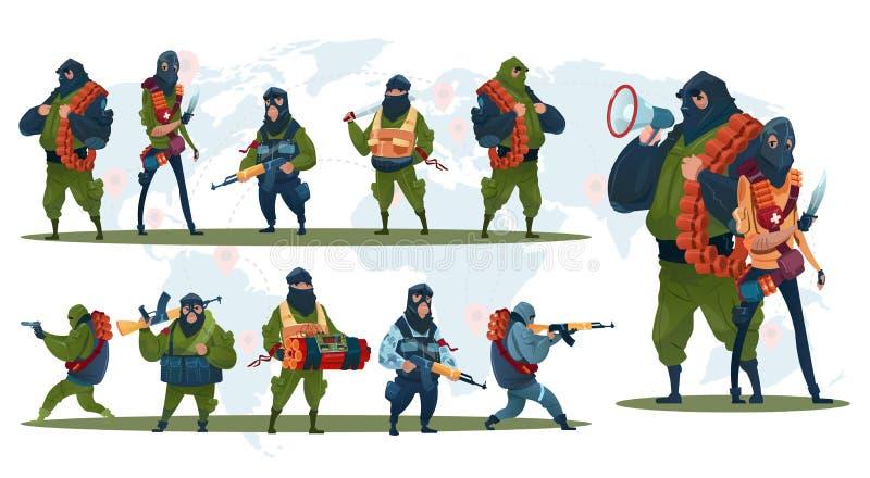 恐怖主义武装恐怖分子黑色面具举行武器机枪 库存例证