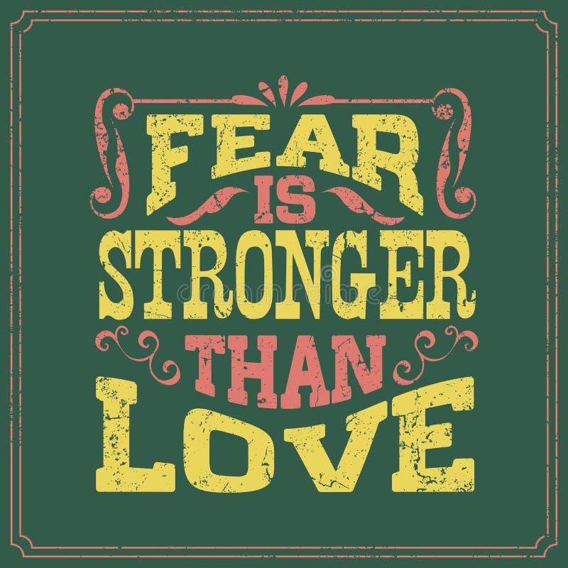 恐惧比爱-说的英语强-葡萄酒样式海报设计 向量例证