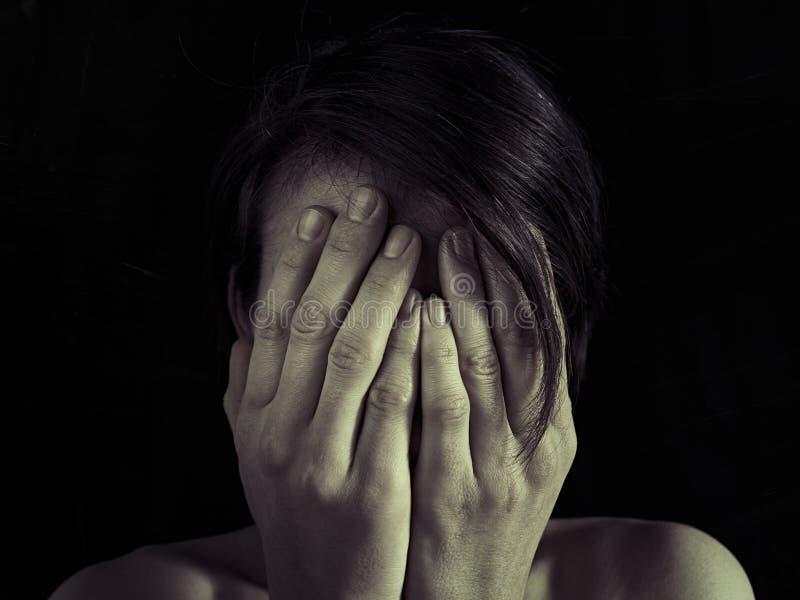 恐惧,家庭暴力的概念 免版税库存图片