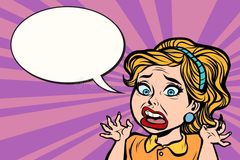 恐慌、情感和重音的妇女 向量例证