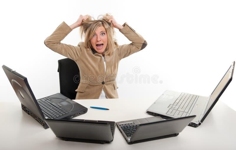恐慌在办公室 库存图片