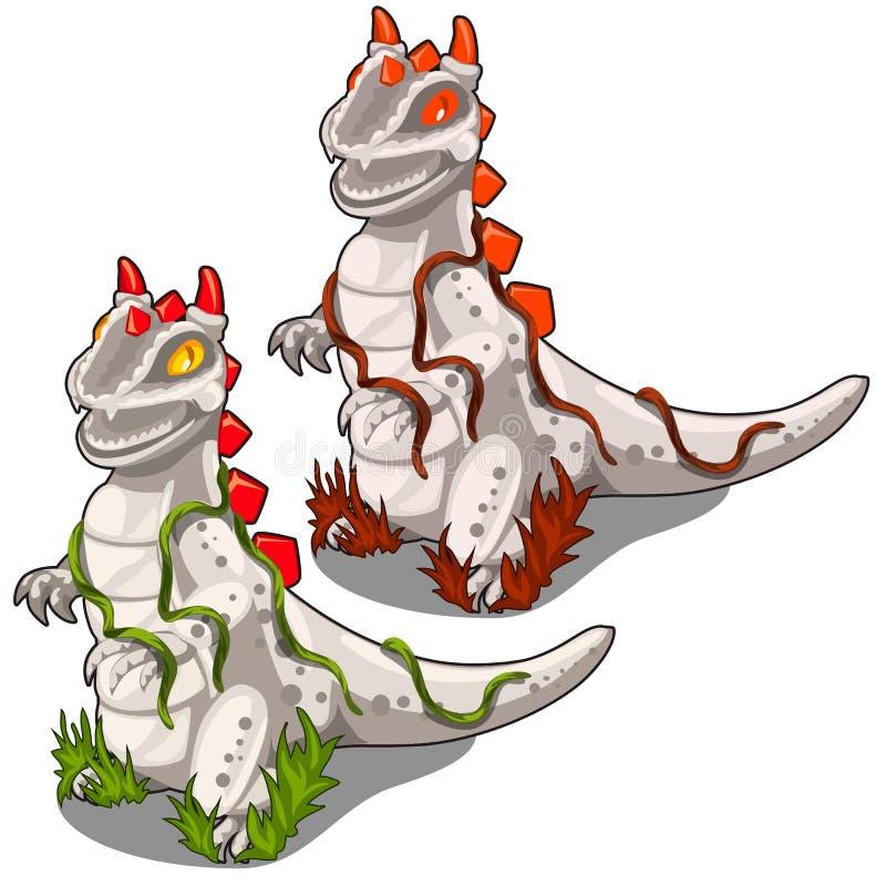 恐龙两个石雕象与红色冠的 皇族释放例证
