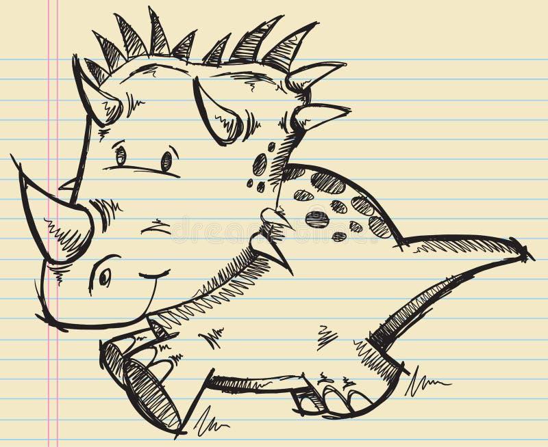 恐龙乱画草图三角恐龙 皇族释放例证