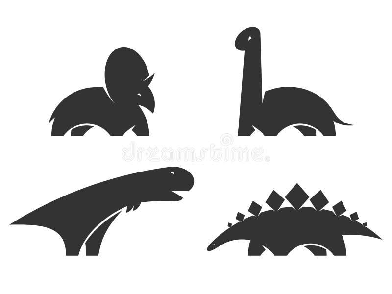 恐龙传染媒介商标设计元素 侏罗纪公园世界 集合恐龙在白色背景现出轮廓隔绝 汇集迪诺 向量例证
