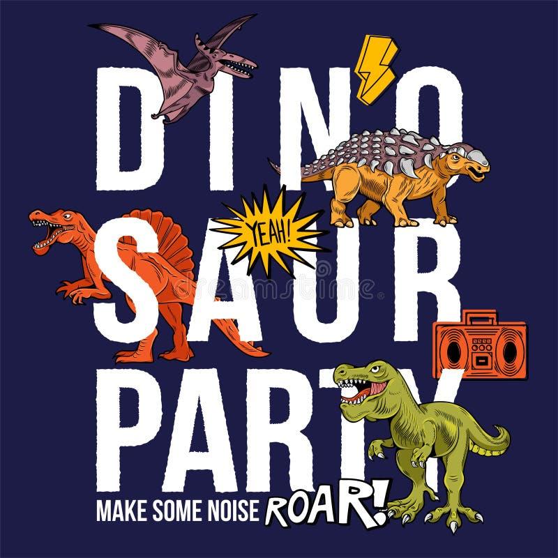 恐龙党滑稽的印刷品设计 皇族释放例证