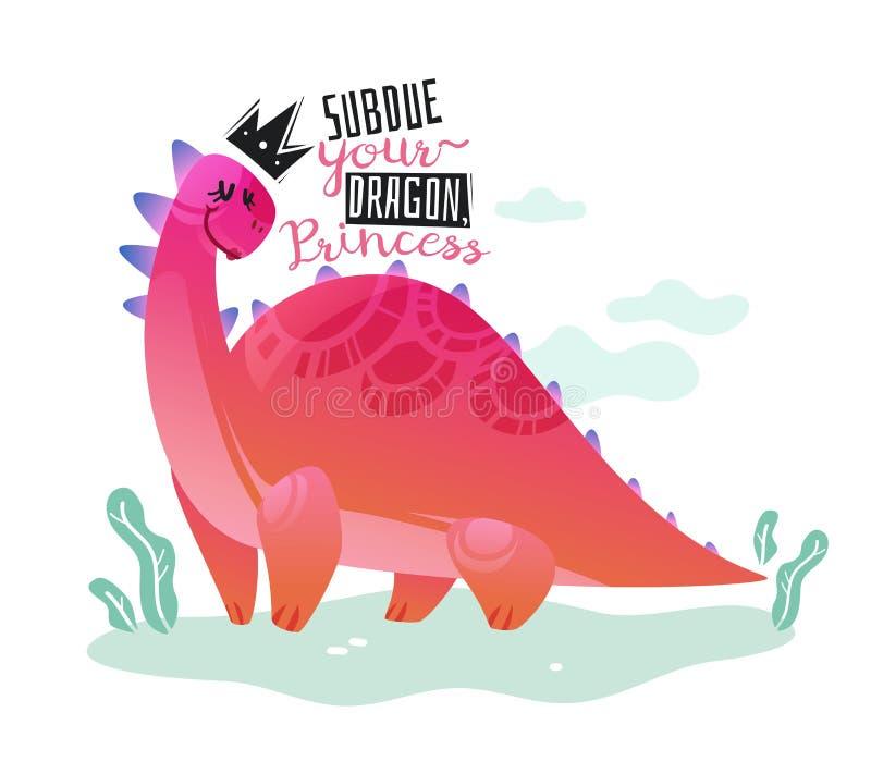 恐龙公主海报 逗人喜爱的迪诺女孩印刷品T恤杉文本孩子滑稽的设计愉快的动物盖子纺织品横幅动画片 向量例证