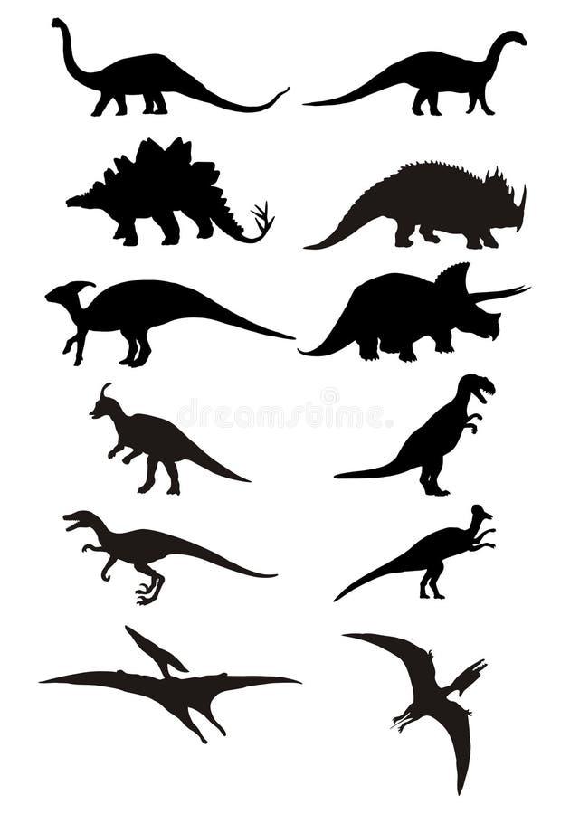 恐龙剪影 皇族释放例证