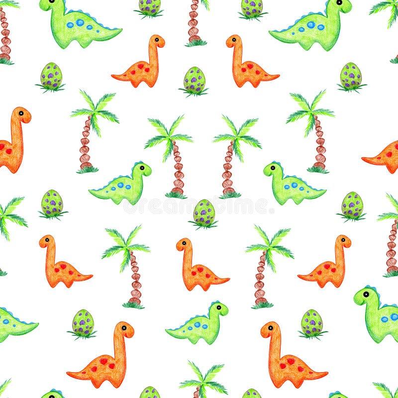 恐龙动画片手图画 向量例证