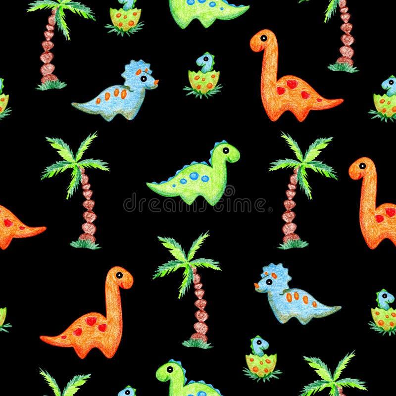 恐龙和棕榈无缝的样式 库存例证