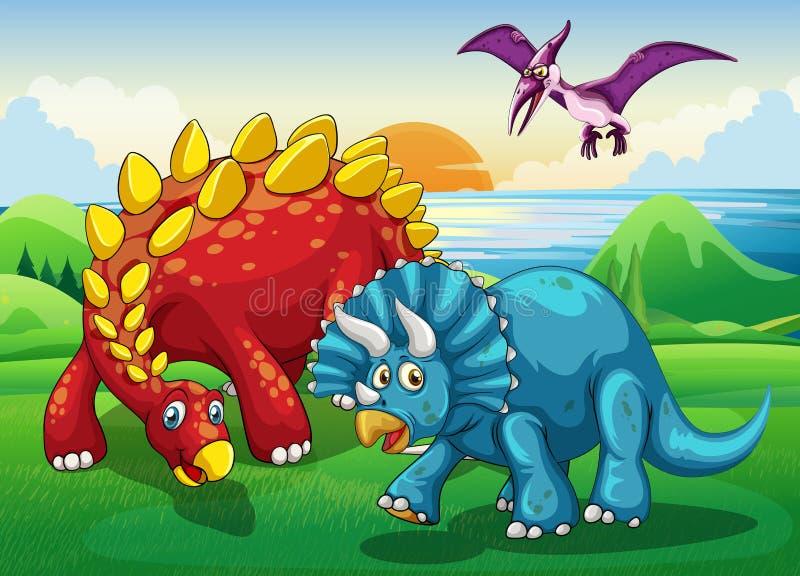 恐龙在公园 皇族释放例证