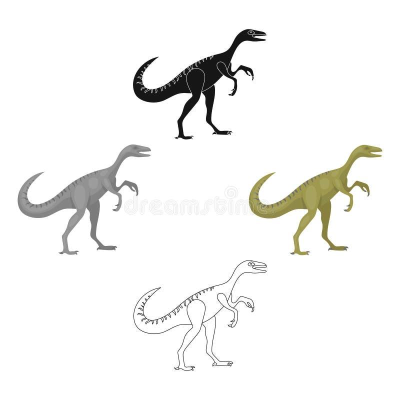 恐龙在动画片,黑样式的Gallimimus象隔绝在白色背景 恐龙和史前标志股票 向量例证