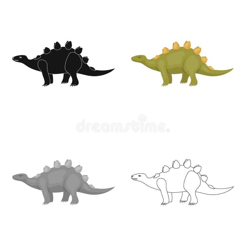 恐龙在白色背景在动画片样式的剑龙象隔绝的 恐龙和史前标志股票传染媒介 皇族释放例证