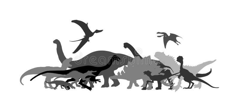 恐龙大收藏量 T雷克斯在白色背景隔绝的传染媒介剪影 暴龙阴影标志 侏罗纪时代 dino 向量例证