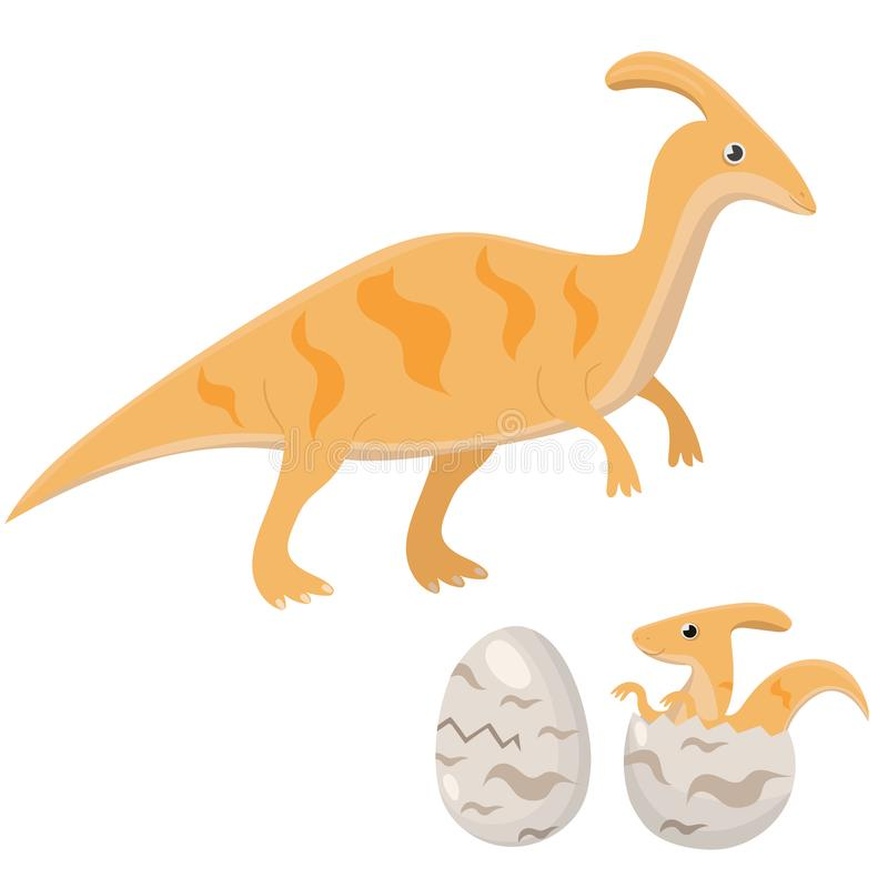 恐龙家庭妈妈恐龙和小恐龙舱口盖从鸡蛋 在白色背景隔绝的传染媒介图象 向量例证