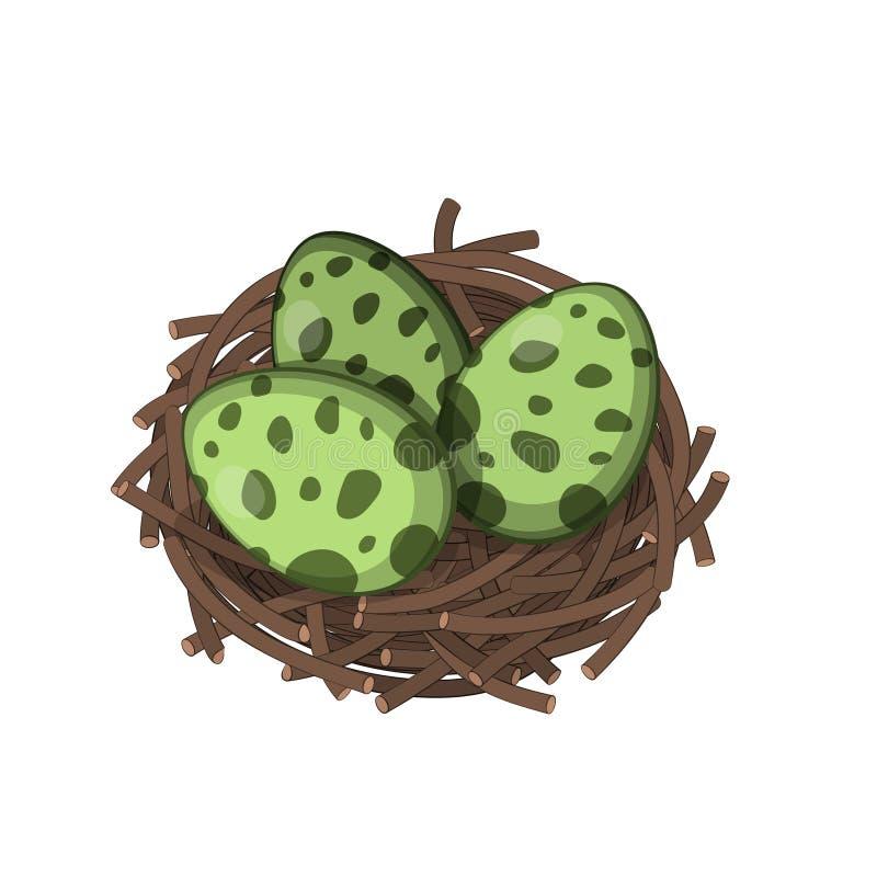 恐龙巢用在等量样式的鸡蛋 侏罗纪妖怪的被隔绝的图象 库存例证