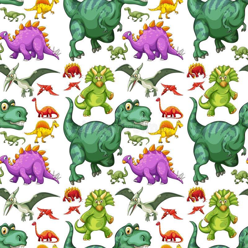 恐龙无缝的样式的各种各样的类型 库存例证