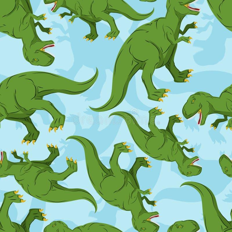 恐龙无缝的样式 迪诺纹理 向量例证