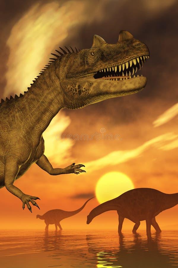 恐龙日落 向量例证