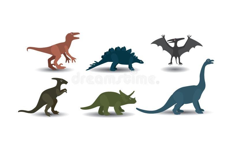 恐龙的传染媒介汇集在白色背景的 向量例证