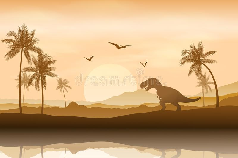 恐龙的剪影在河岸背景中 向量例证