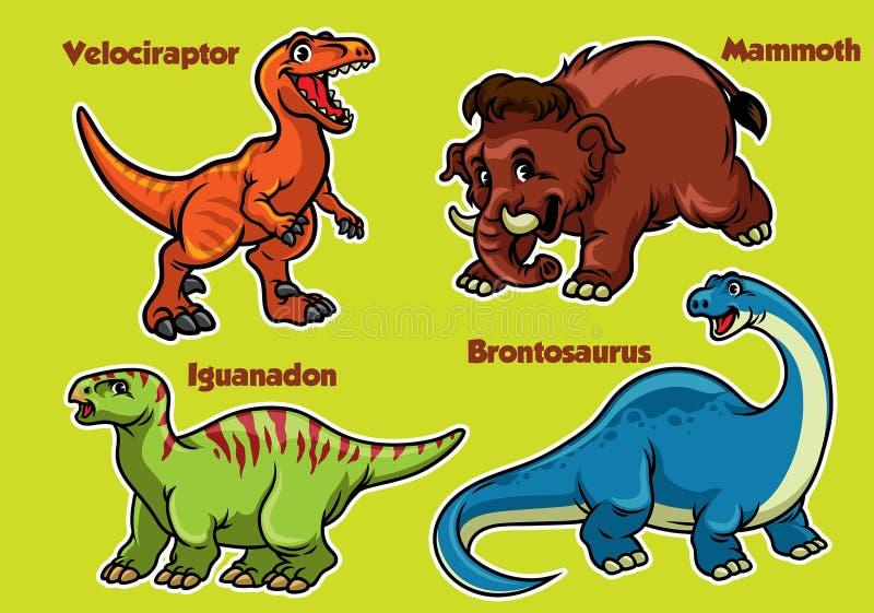 恐龙的动画片汇集 库存例证