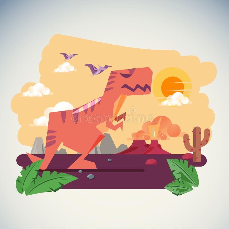 恐龙的年龄有火山爆发背景- illustartion 皇族释放例证