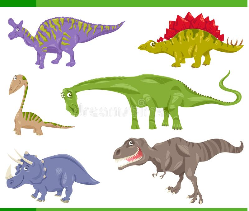 恐龙种类集合动画片例证 皇族释放例证