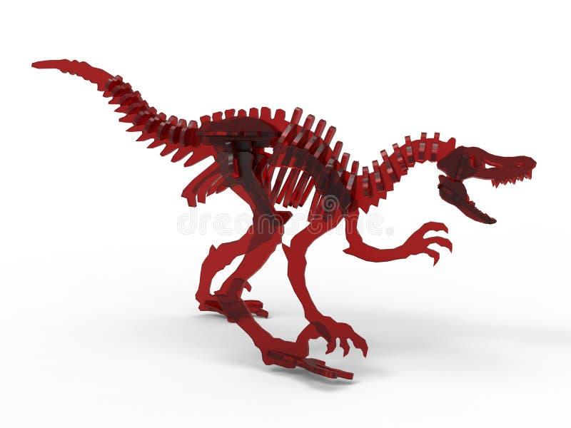 恐龙红色玻璃骨骼 向量例证