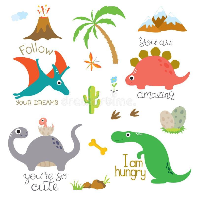 恐龙脚印、火山,棕榈树、石头、骨头和仙人掌 库存例证